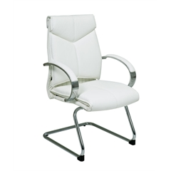 Office Star Deluxe Mid Back White Leather Visitors  Chair with Chrome  Base and Padded Polished Aluminum Arms