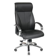 Office Star Deluxe High Back Black Executive Leather Chair