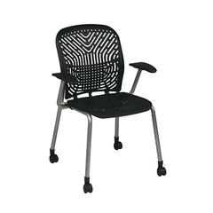 Office Star Deluxe SpaceFlex® Raven Seat and Back Visitors Chair with Platinum Frame, Arms and Casters (2-Pack)