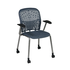 Office Star Deluxe SpaceFlex® Blue Mist Seat and Back Visitors Chair with Platinum Frame, Arms and Casters (2-Pack)