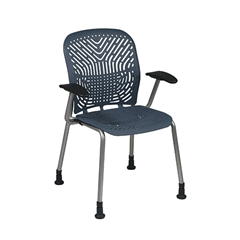 Office Star Deluxe SpaceFlex® Blue Mist Seat and Back Visitors Chair with Platinum Frame, Arms and Glides (2-Pack)