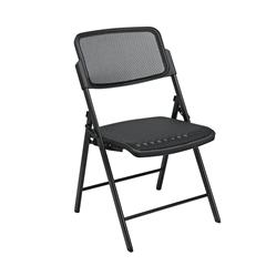 Office Star Deluxe Folding Chair With Black ProGrid® Seat and Back and Black Finish (2-Pack) Gangable
