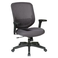 Charcoal Mesh Seat And Back With Adjustable Arms, Adjustable Lumbar And Platinum Finish Base