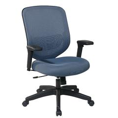 Office Star Blue Mesh Seat And Back With Adjustable Arms, Adjustable Lumbar And Nylon Base