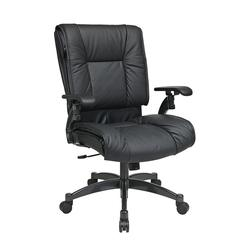 Deluxe Black Top Grain Leather Conference Chair with Cantilever Arms