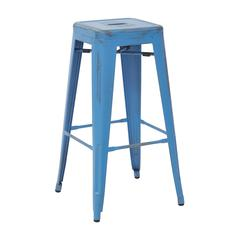 "Bristow 30"" Antique Metal Barstool, Antique Royal Blue Finish, 2-Pack"