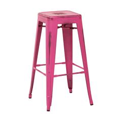 "Bristow 30"" Antique Metal Barstool, Antique Pink Finish, 4 Pack"