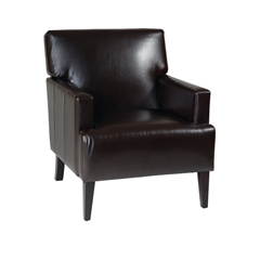 Office Star Carrington Arm Chair in Espresso Eco Leather