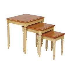 3pc. Nesting Tables in Country Cottage Buttermilk & Cherry Finish