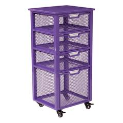 Clayton 4 Drawer Rolling Cart in Purple Metal Finish Frame, Fully Assembled.