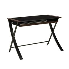 "OSP Designs Corvus 43"" Computer Desk in Black Finsh with Black Glass"