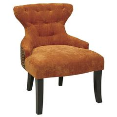 Ave Six Curves Hour Glass Chair (Two-Tone)in Bennett Pumpkin/Riesling Gemstone