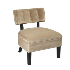 Office Star Curves Button Accent Chair in Coffee Velvet