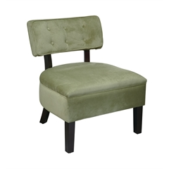 Office Star Curves Button Accent Chair in Spring Green Velvet