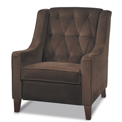 Office Star Curves Tufted Accent Chair in Chocolate Velvet