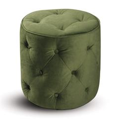 Office Star Curves Tufted Round Ottoman in Spring Green Velvet