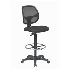 """Office Star Deluxe Mesh Back Drafting Chair with 20"""" Diameter Foot ring"""