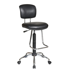 Office Star Chrome Finish Economical Chair with Teardrop Footrest