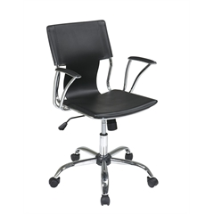 Office Star Dorado Office Chair with Fixed Padded Arms and Chrome Finish in Black