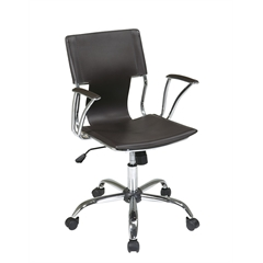 Office Star Dorado Office Chair with Fixed Padded Arms and Chrome Finish in Espresso