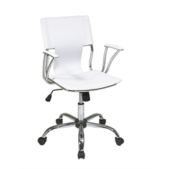Office Star Dorado Office Chair with Fixed Padded Arms and Chrome Finish in White