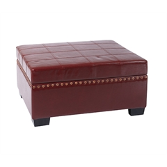 Office Star Detour Storage Ottoman with Tray in Crimson Red Eco Leather