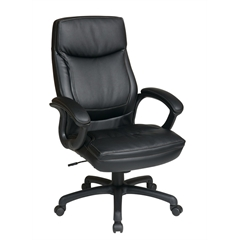 Office Star Executive High Back Black Eco Leather Chair with Locking Tilt Control and Two Tone Stitching