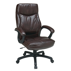 Office Star Executive High Back Mocha Eco Leather Chair with Locking Tilt Control and Two Tone Stitching