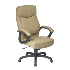 Office Star Executive High Back Tan Eco Leather Chair with Locking Tilt Control and Color Match  Stitching