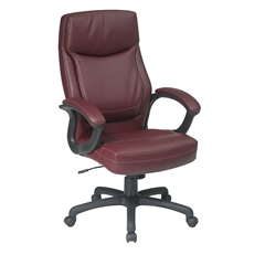 Office Star Executive High Back Burgundy Eco Leather Chair with Locking Tilt Control and Color Match Stitching
