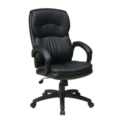 Office Star High Back Black Eco Leather Executive Chair with Padded Arms