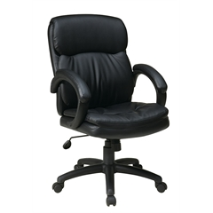 Office Star Mid Back Black Eco Leather Executive Chair with Padded Arms
