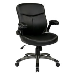 Office Star Executive Mid Back Eco Leather Chair with Adjustable Padded Flip Arms