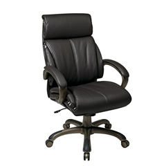 Office Star Executive Espresso Eco Leather Chair with Locking Tilt Control and Cocoa Coated Base