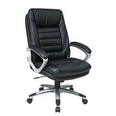 Office Star Black Eco Leather Chair with Locking Tilt Control and Silver Coated Base.