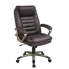 Wine Eco Leather Chair with Locking Tilt Control and Champagne Coated Base