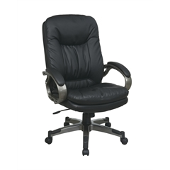 Office Star Executive Black Eco Leather Chair with Padded Arms and Titanium Coated Frame