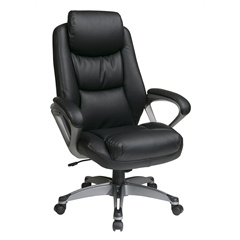 Office Star Executive Eco Leather Chair with Padded Arms, Headrest and Coated Base Feturing Coil Spring Seating Comfort