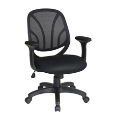 "Office Star Screen Back, Mesh Seat Managers Chair with Mesh Fabric Padded  ""T"" Arms"