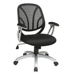 "Work Smart Screen Back Managers Chair with Black Mesh Seat with Padded ""T"" Arms"