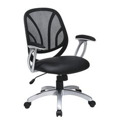"Work Smart Screen Back Managers Chair with Black Faux Leather with Padded ""T"" Arms"