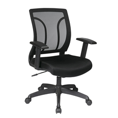 Office Star Screen Back Chair with Mesh Seat with Height Adjustable Arms