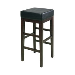 "30"" Square Black Faux Leather Barstool with Espresso legs"