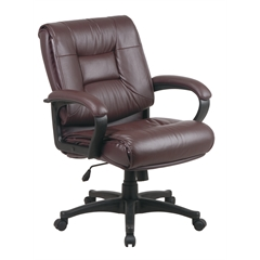 Office Star Deluxe Mid Back Executive Burgundy Glove Soft Leather Chair with Padded Loop Arms