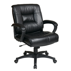 Office Star Deluxe Mid Back Executive Black Glove Soft Leather Chair with Padded Loop Arms