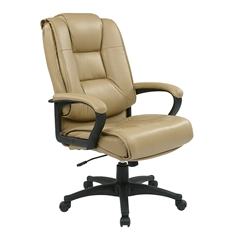 Office Star Executive High Back Tan Glove Soft Leather Chair with Padded Loop Arms