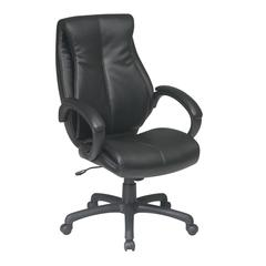 Deluxe High Back Executive Deluxe Coated Black Leather Chair with Pillow Top Seat and Back
