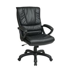 High Back Leather Chair with Pillow Top Seat and Back
