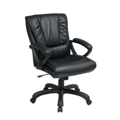 Mid Back Black Leather Chair with Pillow Top Seat and Back
