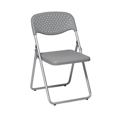 Office Star Folding Chair with Grey Plastic Seat and Back and Silver Frame. (4 Pack)